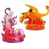 zzdgfc 2Pcs 12-15Cm Anime Pets Figures Charizard Mewtwo Energy Aura Effect Collectible Model Toys