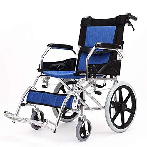 LIANGANAN Silla de rehabilitación médica, silla de ruedas, silla de ruedas plegable de peso ligero de conducción médica, sillón de ruedas mayor portátil de coches con la carretilla de edad avanzada co