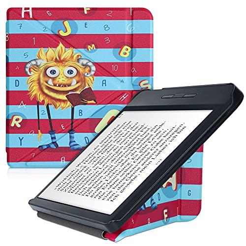 kwmobile Carcasa Compatible con Kobo Libra H2O - Funda magnética de Origami para e-Book - Monstruo de Las Letras Amarillo Azul Claro Rosa Fucsia