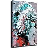 Pintura abstracta colorida de la lona de la pluma de la muchacha en la pared carteles nativos americanos e impresiones arte cuadro para la sala de estar Deco Unframe-style1 40×60cm