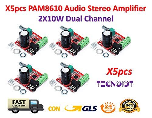 TECNOIOT 5pcs PAM8610 12V Mini Hi-Fi Audio Stereo Amplifier 2X10W Dual Channel D Class