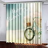 Cortinas Florales de Rueda de Acuarela, Cortinas, 2 Paneles, Bicicleta Azul con Hermosas Flores, Paneles de Cortina de Ventana para la decoración del Dormitorio de la Sala de Estar