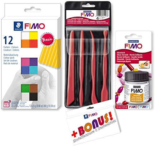 Staedtler FIMO 12er Materialpackung + Werkzeuge + Glanzlack Starter Set inkl. Bonus