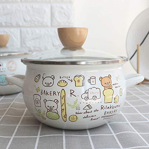 Suppentopf, Emailletopf 16cm Dicke 1,3 l mit Deckel Kleinen Hot Pot sofortiger Nudel-Topfes Topfset Kitchen Restaurant,Smallb