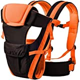 Ineffable 4 in 1 Deluxe Series-4 Way Carrying Position, with Wide Shoulder Straps, Adjustable Belts and Cushioned Inner portions Baby Carrier Cum Kangaroo Bag(Orange & Black)