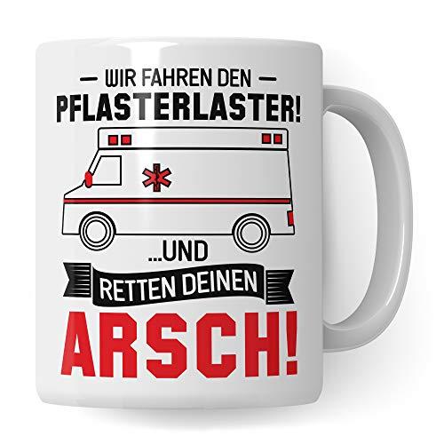 Pagma Druck Pflasterlaster Tasse Rettungsdienst Sanitäter Geschenk, Rettungssanitäter Kaffeebecher Spruch, Krankenwagen Becher Geschenkidee (Weiß/Weiß)