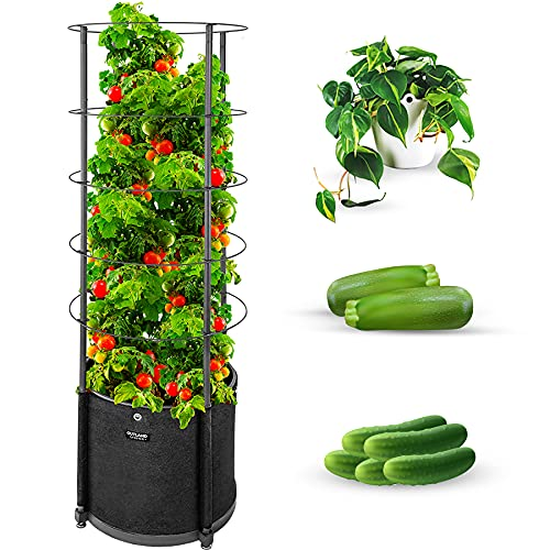 Outland Living Large Tomato Planter with Metal Trellis 68 Inch, 20 Gallon Fabric Pot with Drainage - Tall Cages for Climbing Outdoor Plants Cucumber, Grape, Beans and Flowers, Black (Pack of 1)