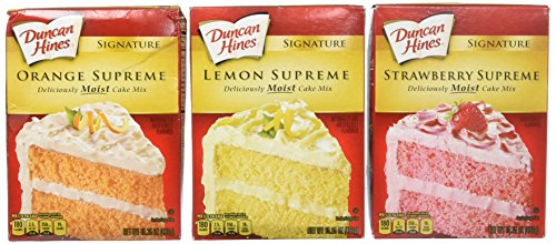 Duncan Hines Signature Cake Mix Bundle - Strawberry Supreme, Orange Supreme, Lemon Supreme 16.5oz (Pack of 3 Boxes) by Duncan Hines Signature