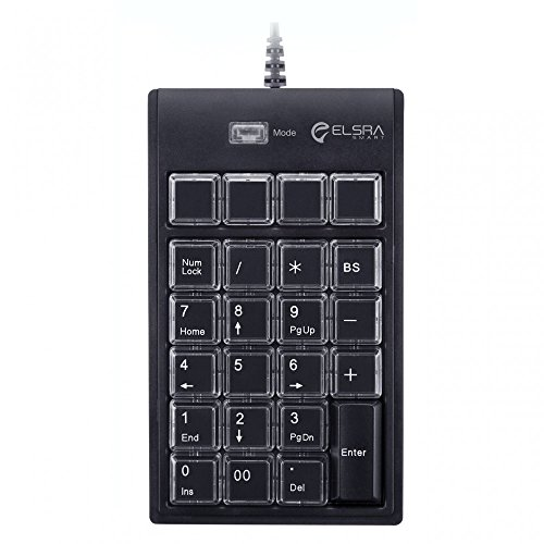 ELSRA USB Wired Programming Numeric Keypad ControlPad Black PK-2068(23 Key, 2-Level programmable, 2 USB Hub) for Windows
