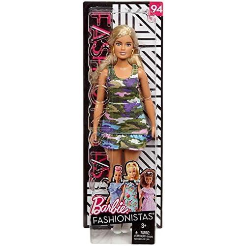 Barbie Fashionistas Bambola in Vestito Colorato con Carmou Flage, Uno Stile da Collezionare, FJF54