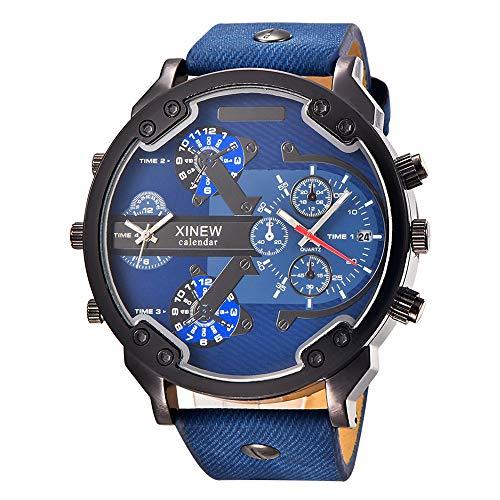SJXIN Schöne und stilvolle Armbanduhr, Luxuxmarken XINEW Uhren Male voller Stahl Big-Armbanduhr Modeuhren (Color : 6)