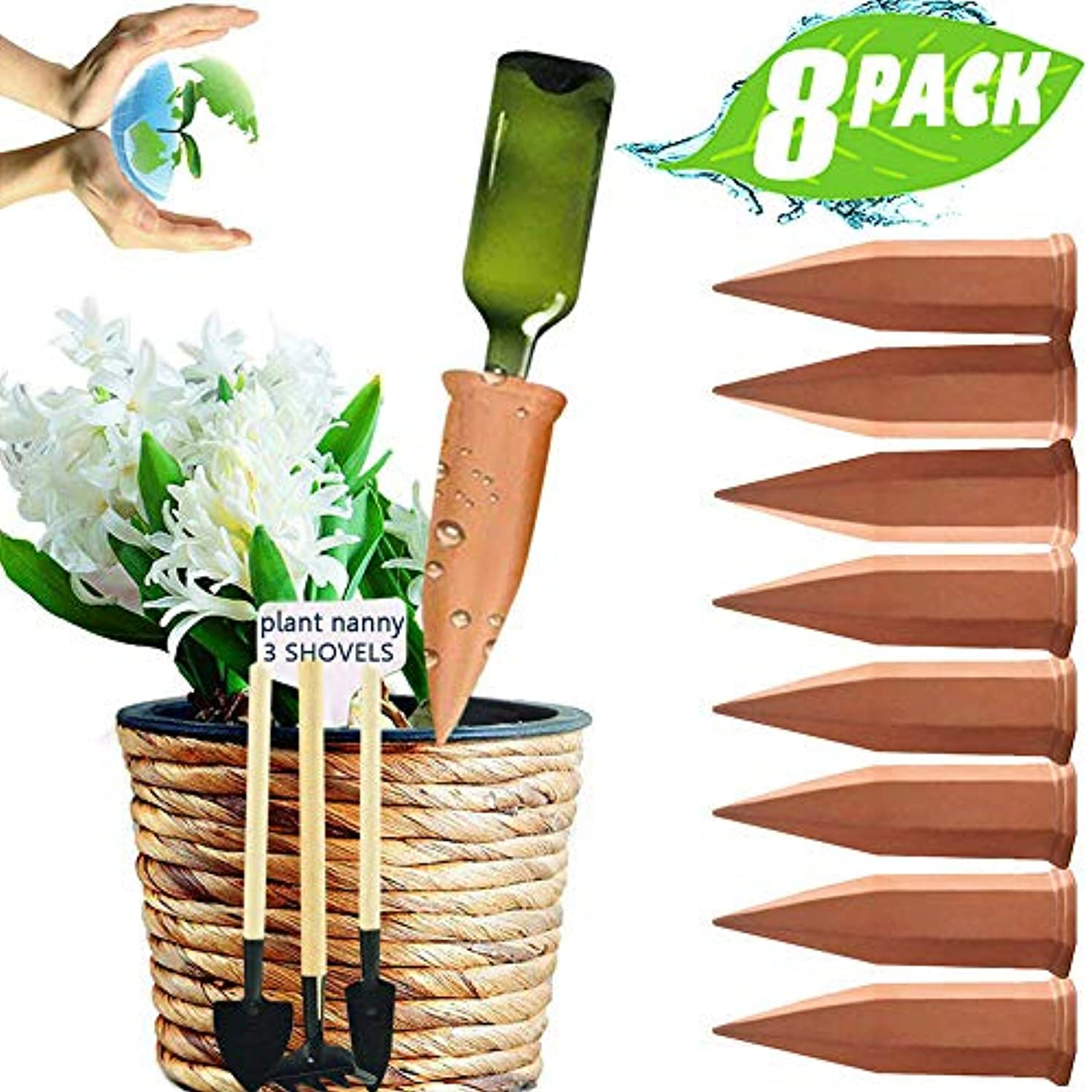 JollyAndVector Plant Watering Stakes Terracotta Self Watering Devices Vacation Plant Waterer Automatic Watering Spikes for Indoor Outdoor 8 Pack Set(8)