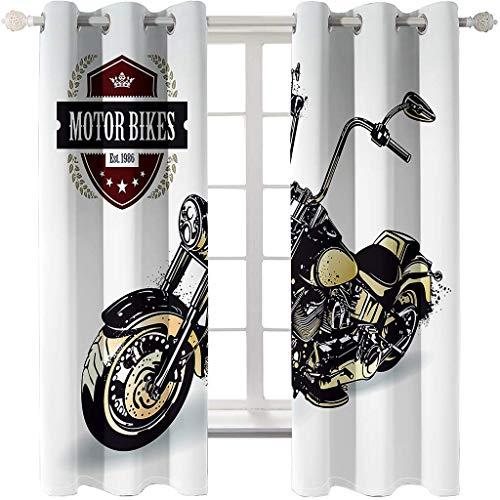 Blickdicht verdunklungsvorhänge mit Ösens,100% Polyester, EIN Satz von 2 Platten, Pro Stück 140x210 cm, Moderner Gardinen mit 3D Harley Motorrad Muster - Geeignet für Wohnzimmer und Schlafzimmer