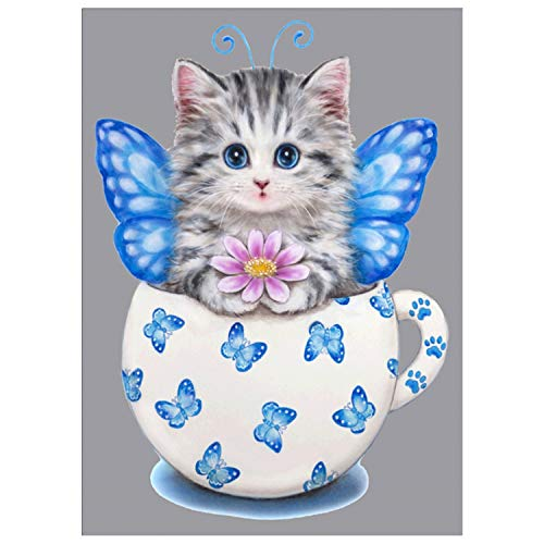 DIY 5D Diamond Painting by Number Kit, Cute Cat Crystal Rhinestone Embroidery Cross Stitch Arts Craft Canvas Wall Decor