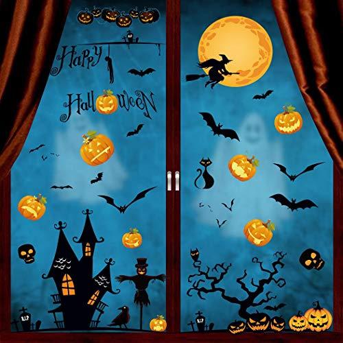 heekpek Halloween Pegatinas de Ventanas y Escaparate Pegatinas en Forma de Calabaza Murciélago y Fantasmas Pegatinas de Decoración para Halloween