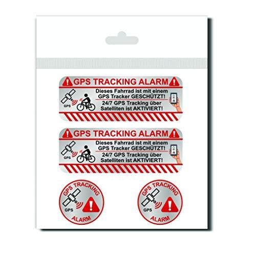 KOKOTEX 4 GPS Aufkleber Fahrrad Diebstahlschutz - Tracking Alarm Tracker Diebstahl vorbeugen 4 Stück Sticker