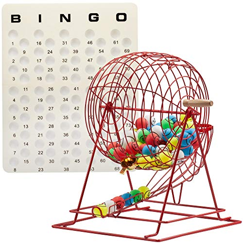 GSE Games & Sports Expert Professional Bingo Game Set. Including Extra Large Brass Bingo Cage, 1.5-Inch Ping Pong Style Bingo Balls, Plastic Masterboard (3 Colors Available) (Red Cage)