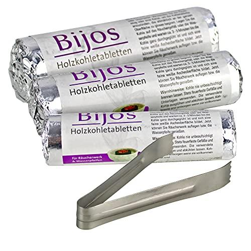 Bijos - Pastillas de carbón vegetal con pinzas y 10 unidades (1 rollo) de 33, 40 y 50 mm, carbón de bambú de encendido rápido