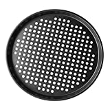 DOITOOL 1PCS Round Pizza Pan Nonstick 11 Inch Pizza Pan with Holes,Pizza Baking Pan for Oven Baking Supplies (Black,28x28x1cm)
