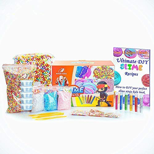 Slime Supplies Kit by Ninja Kidz: Including Rainbow Foam Beads, Fishbowl Beads, 12 Glitter Pack, Fruit and Flower Slices,Slime CuttingTools, 20 Large Containers, Ebook - DIY Slime and Clay Decoration