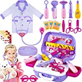 TEPSMIGO Doctor Kit for Kids with Carry Case, 22 Pcs Pretend Play Kids Doctor Set with Stethoscope and Dress Up Coat, Play Doctor Set for Kids Age 3 4 5 6 7 8 Years Old