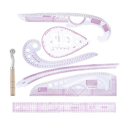 Whuooad - Juego de reglas métricas francesas de plástico con forma de curva, 7 piezas, accesorios para costura, diseño de patrón de costura, herramientas de sastre