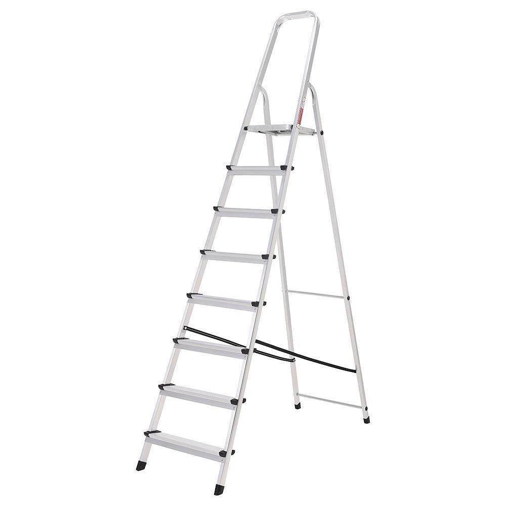 ORYX 23010010 Escalera Aluminio 8 Peldaños Plegable, Uso doméstico, Antideslizante, Ligera y Resistente: Amazon.es: Bricolaje y herramientas