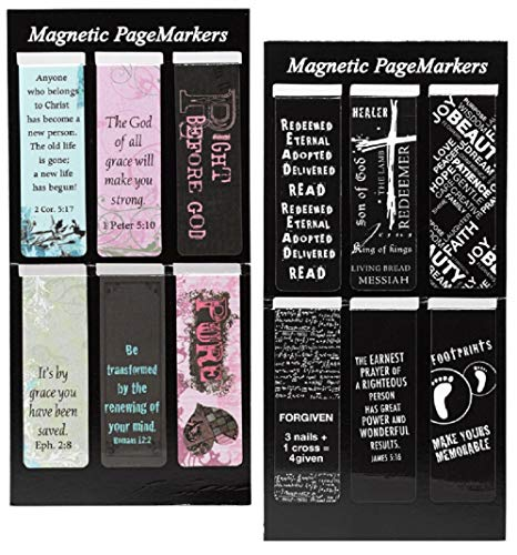 12 Inspirational Magnetic Bookmarks Bundle | for Bible, Book, Planner and Journal