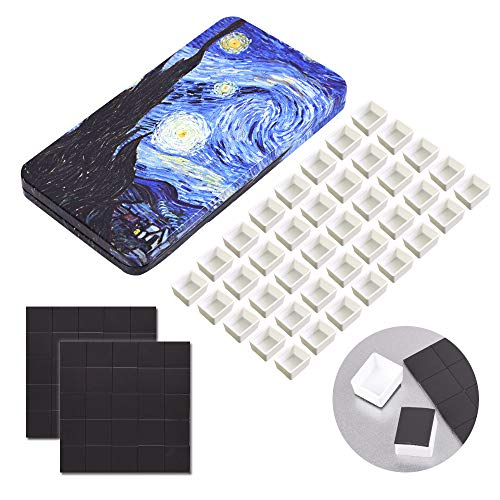 40Pcs Empty Half Pans with Magnetic Stripe Watercolor Paint Travel Tin Palette Case, Artist Paints Half Pan Kits for DIY Watercolor Oils or Acrylics Painting Art Drawing starry night