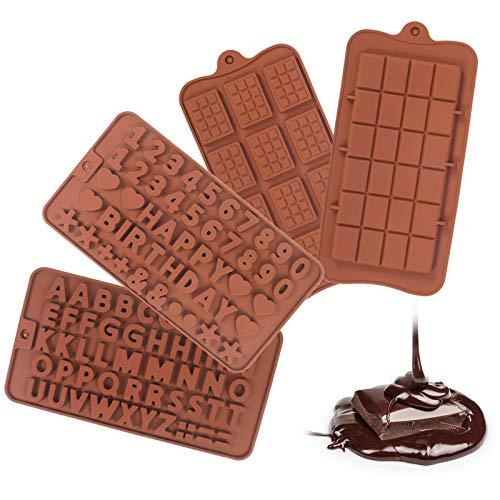 Girls'love talk 4 pièces moules en Silicone au Chocolat, Moule à Bonbons au Chocolat gâteau Alphabet antiadhésif Silicone Fondant moules Kit pour Enfants Hommes Femmes Cuisson
