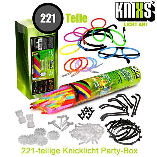 KNIXS Mega Knicklichter Party-Pack / Set im 6-Farb-Mix - 221 Teile für Party, Disko, Festival und Geburtstag - alles in einer Box