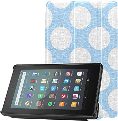 Cover Fire Tablet 7 9th Gen Case Muchas Fundas de Lunares Azules para Fire Tablet de 7 Pulgadas para Fire 7 Tablet(9th Generation,versión 2019) Ligero con suspensión/activación automática