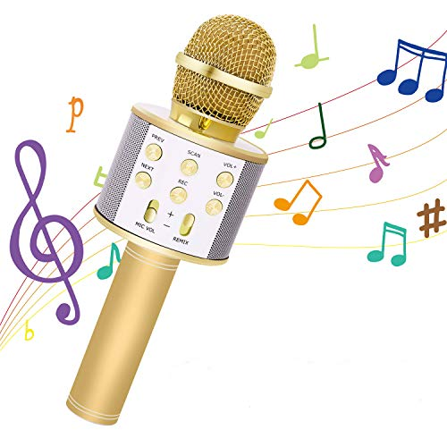 Bearbro Bluetooth Karaoke Mikrofon,3-in-1tragbares drahtloses Mikrofon, mit zwei eingebauten Lautsprechern, für Party, Podcast, Familie, Kompatibel mit iPhone/Android/iPad und Smartphone(Gold)