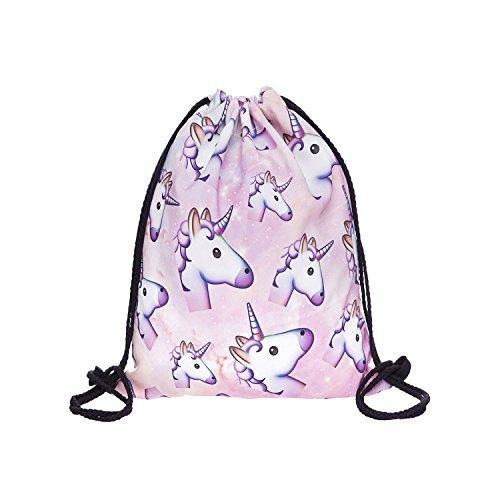 Einhorn Fashion bunter Happy Cute 3D Gedruckt Kordelzug Rucksack Bag (39 x 30 cm)