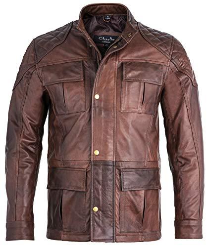 Charlie LONDON Chaqueta larga para hombre de cuero negro suave para motociclista, chaqueta de tres cuartos de brontes