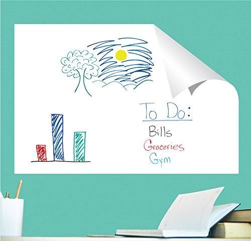 Everase Re-Stic Dry Erase Self-Adhesive Peel & Stick Sheet, (24 x 36 in.) Free Marker & Cloth | Premium Quality Removable Whiteboard Decal/Sticker | Walls, Doors, Desks, Refrigerators