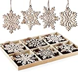 24 Stück Weihnachten Holz Schneeflocken Unvollendete Vintage Holz Anhänger mit Jute Kordel Weihnachtsbaum Deko Ornamente 6 Verschieden Muster für DIY Basteln Geschenk Weihnachtdeko (10cm/4inch)