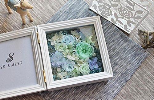 Künstliche Blume LHY- Massiver Holz-Chic-Bilderrahmen 6x6 mit konservierter Rosenblume als Geschenke for Mothers'Day & Weihnachten Mode (Color : E)