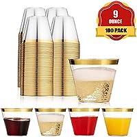 Funhoo Paquete de 100 tazas de plástico de 9 oz. Copa para beber, taza desechable transparente para beber con borde dorado para la fiesta de cumpleaños Wedding Bar Cafe Hotel (100pcs)