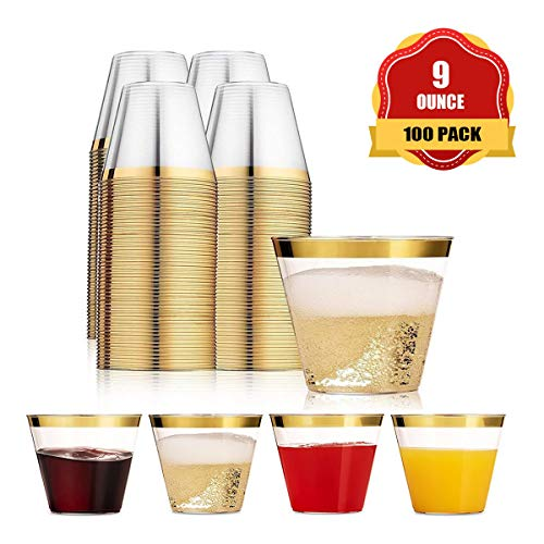 Funhoo 100 Pack 9 oz Plastikbecher Trinkbecher Einweg Durchsichtig Trinkgefäß mit goldenem Rand für Party Geburtstag Hochzeit Bar Cafe Hotel (100 Pack)