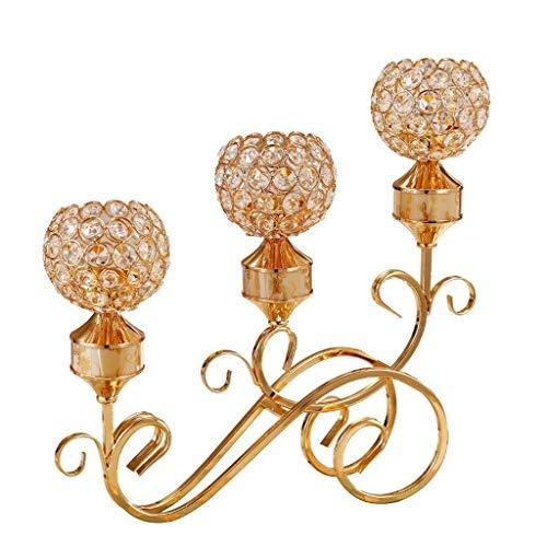 DAGONGREN De Oro de Vela de Cristal Titular Accesorios Core, 3 candelabros for Valentine Boda decoración de la Tabla
