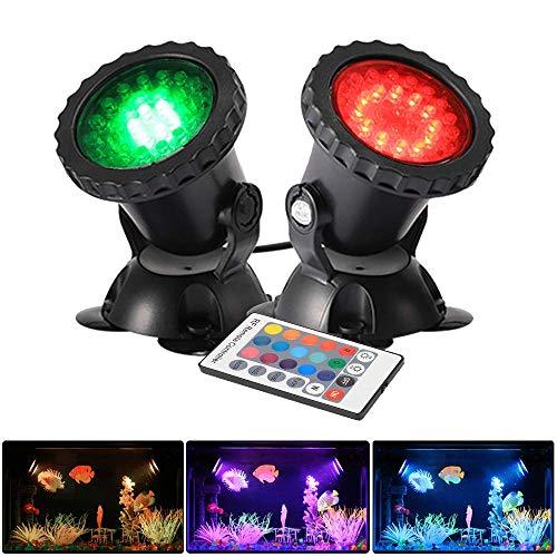 GreenSun LED Lighting Gartenteich Lampe RGB Aquarium Licht 4W Unterwasserlicht 36 Leds Unterwasserleuchte 2 in 1 Teichbeleuchtung Aquarium LED Beleuchtung Aquariumlampe
