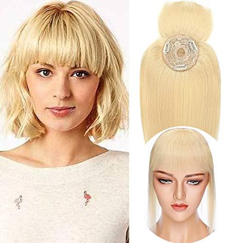 """10""""(25cm) SEGO Protesis Capilar Mujer Pelo Natural con Flequillo Postizo [#613 Blanqueador Rubio] Extensiones de Clip Cabello Humano Remy Human Hair Toppers (32g)"""