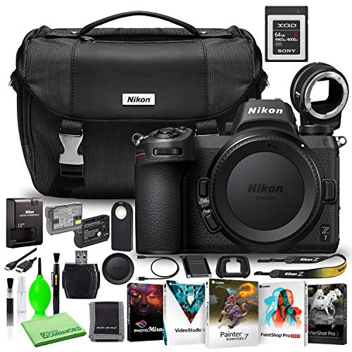 Nikon Z7 45.7MP Mirrorless Digital Camera (Body Only) (1591) USA Model Deluxe Bundle with Sony 64GB XQD Memory Card + Nikon FTZ Adapter + Nikon DSLR Camera Bag + Corel Editing Software + Extra Battery