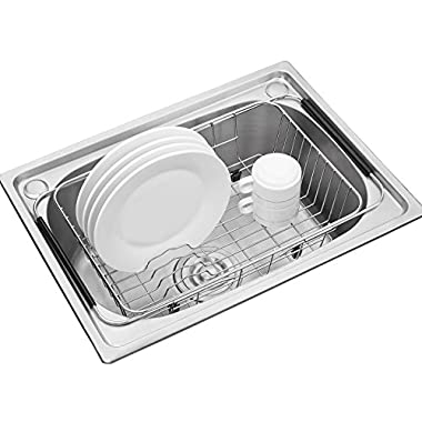 Adjustable Over Sink Dish Drying Rack Stainless Steel Dish Drainer, On Counter or In Sink Dish Rack, Deep and Large- Rustproof