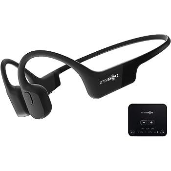 AfterShokz テレビ用 Bluetooth イヤホン 骨伝導 ヘッドホン (aptx 低延遅 トランスミッター レシーバー 付き) AS801-ABT01