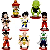 Dragon Ball Mini Figuras,8 Pcs Dragon Ball Cake Topper Pastel Decoración Suministros,Fiesta de Cumpleaños Goku Figures Muñeca Hecha a Mano Decoración para Niños Animales Modelo Set