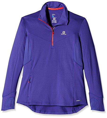 SALOMON Trail Runner Warm Mid W T-Shirt à Manches Longues, Femme S Bleu (Spectrum Blue)