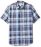 Amazon Essentials Herren-Hemd, Kurzarm, reguläre Passform, bedruckt, aus Leinen, Navy Plaid, US M (EU M)
