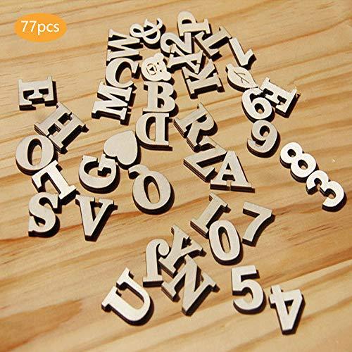Sprießen 77 Pezzi Totalmente Legno Lettere Numeri in Legno Legno Lettere per Arte Craft Decorazione Display- Decorazioni per la Casa in Legno Fai da Te(Viene Fornito con Cinque Motivi Decorativi)